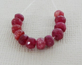 Ruby Gemstone Beads,  Mini strand 12 Beads Faceted Rondel 3.5mm Spacer, Precious, Red