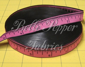 Pink Ruler Black Numbers Ribbon, 3 yds