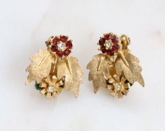 Vintage Floral Clip On Earrings - Gold Leaf Earrings