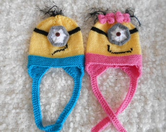 Minion hat - hand knitted