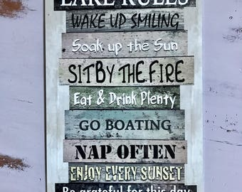 Lake Rules - Metal Sign - Beach decor - Home Decor - Boating Sign - Great Gift for Dad - Father's Day Gift - Metal Wall Decor