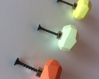 Wooden Knobs,Blu Knobs,Drawer Pull,Dresser Knobs,Decorative Drawe Pull,Geometric Knobs