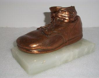 Vintage, Antique BRONZE BABY SHOE, Marble Base