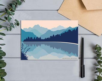 Lake Matheson West Coast New Zealand with Aoraki Mount Cook Modern Greeting Card (105mm x 148mm or 4.1 x 5.8 inches)