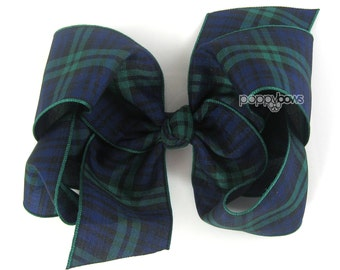 "Plaid Hair Bow 4"" - Navy Blue Hunter Green Tartan Classic Hairbow 4 Inch - Baby Toddler Girl Back to School Uniform Black Watch"
