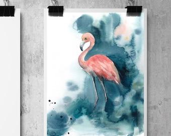 Flamingo art print, Watercolor Painting print, Flamingo Art, Giclee Print of Flamingo, Emerald Green, Bird Wall Art Print