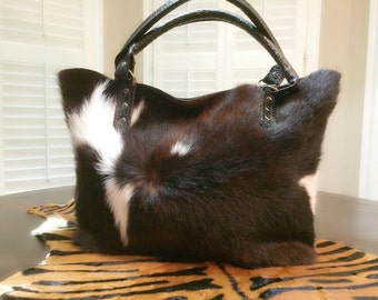 Tote/Hobo Two Tone Cowhide Handbag