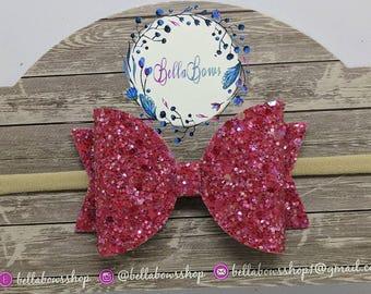 "Red Sherbet Glitter Hair Bow-Alligator Clip-Baby Headband-Photo Prop-Chunky Glitter-Toddler Hair Bow-3.5"" Hair BowGlitter Hair Bow"