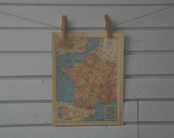 1956 Vintage Map of France