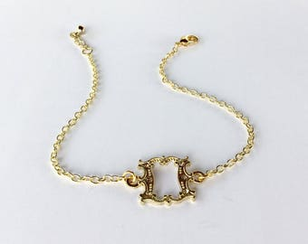 Gold Box Scroll Anklet - Golden Minimalist Jewelry - Beach Wedding Ankle Bracelet