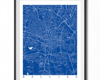 RALEIGH Map Art Print / North Carolina Poster / Raleigh Wall Art Decor / Choose Size and Color