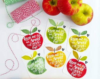 keep me as the apple of your eye Psalm 17.8 apple fall autumn inspired scripture set of 6 journaling / bible journaling cards