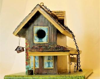 Unique , Handmade , Farmhouse Birdhouse , Hand Painted