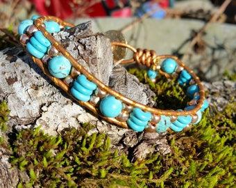 Single Wrap Leather Beaded Bracelet, Beaded Leather Wrap, Turquoise,Howlite, Toho Beads,Greatest Joy Gifts,TierraCast Tribal Button