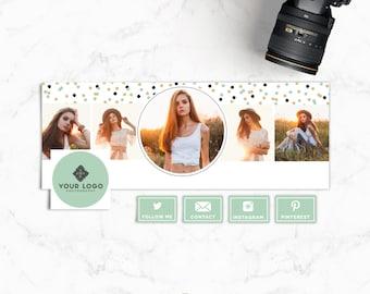 Facebook Timeline Cover & Tabs - Mint Confetti Facebook Cover - Blog Header - Photographer Branding - Instant Download - SKU FBT008