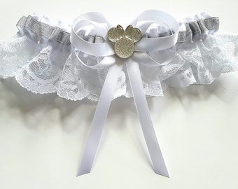 Minnie Inspired Bridal White or Ivory Satin/Satin and Lace/Garter Set