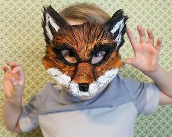 Fox Mask, Ash Fox, Fantastic Mr. Fox child mask, Nick Wilde costume, zootopia fox Costume, Fantastic Mr. Fox, child sized