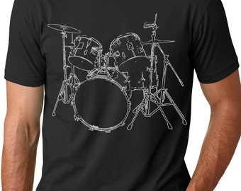 Drums T shirt cool Musician T-shirt screenprinted DRUMER Tee
