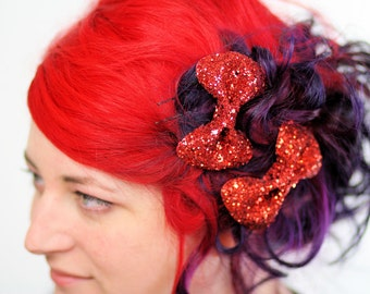 Red Bow Clips, Glitter, Hair Accessories, Cute Kawaii Bows- Black FRiday Cyber Monday