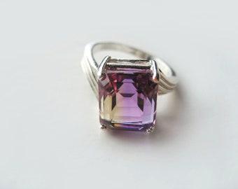 Top Grade Bi-Color Ametrine In Sterling Silver Ring Diagonal Setting 6.67ct. Size 6.75