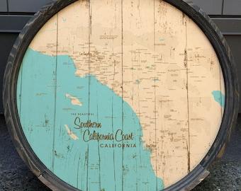 Southern California Coast Map Barrel End
