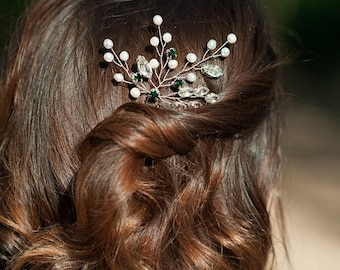 Emerald Green Bridal Hair Pin Pearl Hair Piece Crystal Beaded Headpiece Wedding Hair Jewelry Prom Hairpiece Classy Bride Bridesmaid Gift