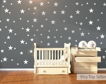 120 White Stars Wall Stickers