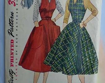 Vintage 50s Full Skirt Halter Dress Jumper Blouse Uncut Pattern 30