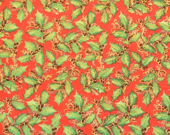 Christmas Holly Fabric With Metallic Gold Sold By The Yard