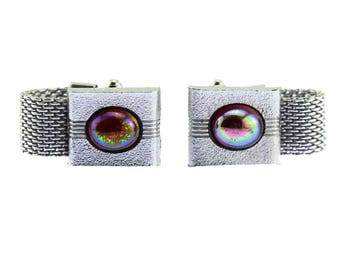Vintage Silver and Red Links, Chunky Silver Cuff Links, Silver Mesh Cuff Links, Silver Wrap Cuff Links