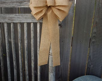 Burlap Pew Bow, Christmas Wreath, Burlap and Gold Burlap Bow, Wreath Bow, Fall Decoration, Gold Wreath Bow, Rustic Decor, Wired Burlap Bow