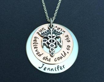 RN LPN necklace - Personalized Nursing necklace - Registered Nurse - She believed she could so she did - Nursing Student - Nurse Graduate
