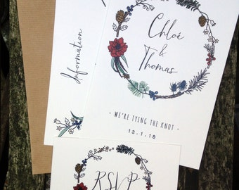 Winter Flora & Fauna Hand Drawn Wedding Invites + Information Card