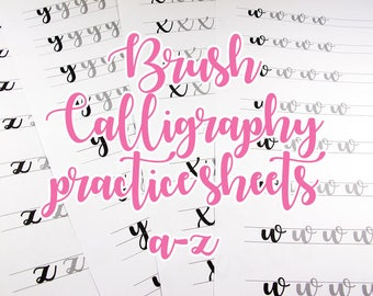 Brush lettering practice sheets, lowercase alphabet