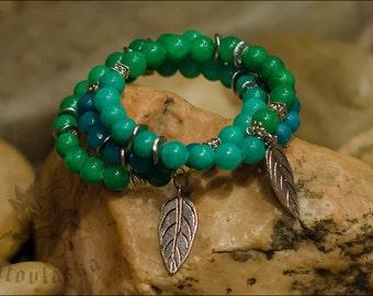 Green Agate Bracelet - Gradient Bracelet - Color Block Jewelry - Ombre Bracelet - Multi Strand Bracelet - Green Leaf Bracelet - Memory Wire