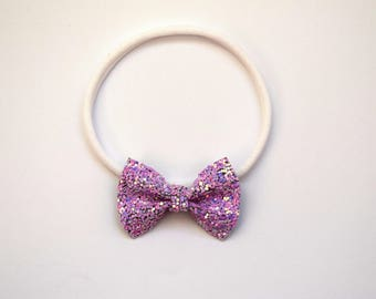 Lilac Dust Glitter TINY Bow Headband ONE SIZE fits All Adorable Photo Prop for Newborn Baby Little Girl Child Adult Headwrap Easter Bow