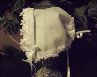 Baby hankie Handkerchief Magic Bonnet turns handkerchief for wedding Venice lace Roses