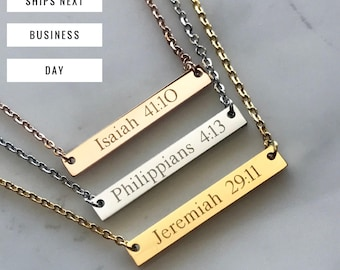 Personalized Bar Necklace - Scripture Necklace - Bible Verse Necklace - Scripture Jewelry - Rose Gold Necklace - Roman numeral necklace