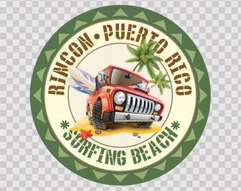 Decal Sticker Rincon Puerto Rico Souvenir Memorabilia Surfing Beach 07793