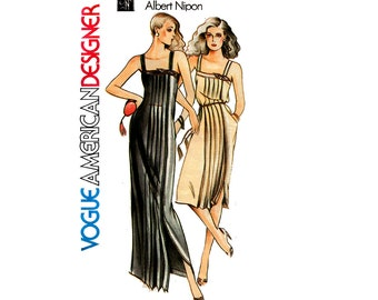 Vogue American Designer 2533 ALBERT NIPON Womens Pleated Sundress Maxi 70s Vintage Sewing Pattern Size 12 Bust 34 inches UNCUT Factory Folds