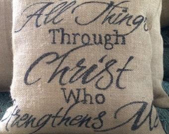 Custom Handmade Burlap Christian Pillows