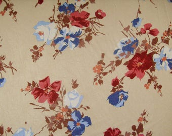 Georgette L80623 in beige with floral print red-blue