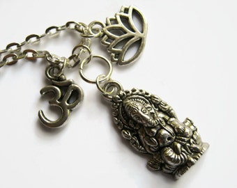 Ganesh Om Lotus Necklace, Hinduism Necklace, Lotus Flower Hindu Necklace,  Yoga Inspired, Ganesha, Choose Your Length, Antiqued Silver