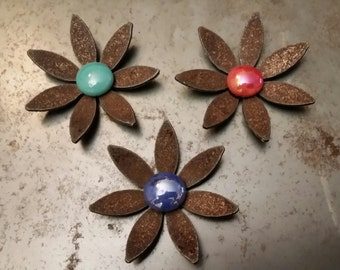 """SHIP NOW - Set of 3 """"Mini"""" Metal Flower Magnets - 3 colors (as shown)"""