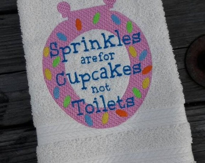 Sprinkles are for Cupcakes Embroidered Bathroom Hand Towel