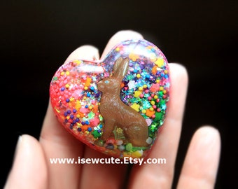 Chocolate Easter Bunny Rabbit Jewelry, Easter Heart Necklace, Easter Gift for Girl, Spring Necklace, Kawaii Necklace, Rainbow Heart Pendant