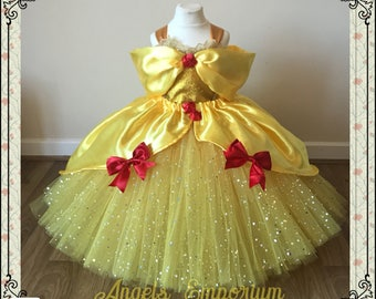 The Original Princess Belle from Beauty and the Beast Inspired Tutu Dress Ball Pageant Costume Luxury Satin Gown Yellow Red Roses Gold Tutu