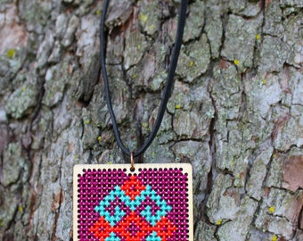 Necklace Cross Stitch, Embroidery Necklace, Handmade Jewellery, Wood Necklace,Gift for Her, Gift for Mom,Needle Point Necklace, Cross Stitch