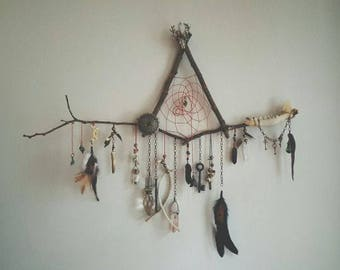 Natural Maple/Oak/Ash Wood triangle dreamcatcher: Wall hanging Fairy, Boho Dream Catcher - real gemstones, feathers, ribbons - custom made