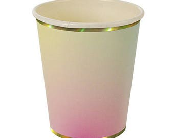 Ombre Cups, Meri Meri, Pink Ombre Party Cups, Ombre Paper Cups, Pink and Yellow Ombre, Mermaid Party, Unicorn Party, Pink Party Cups